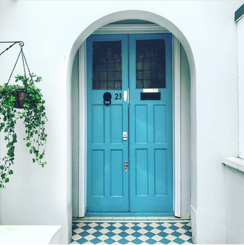 aqua blue front door