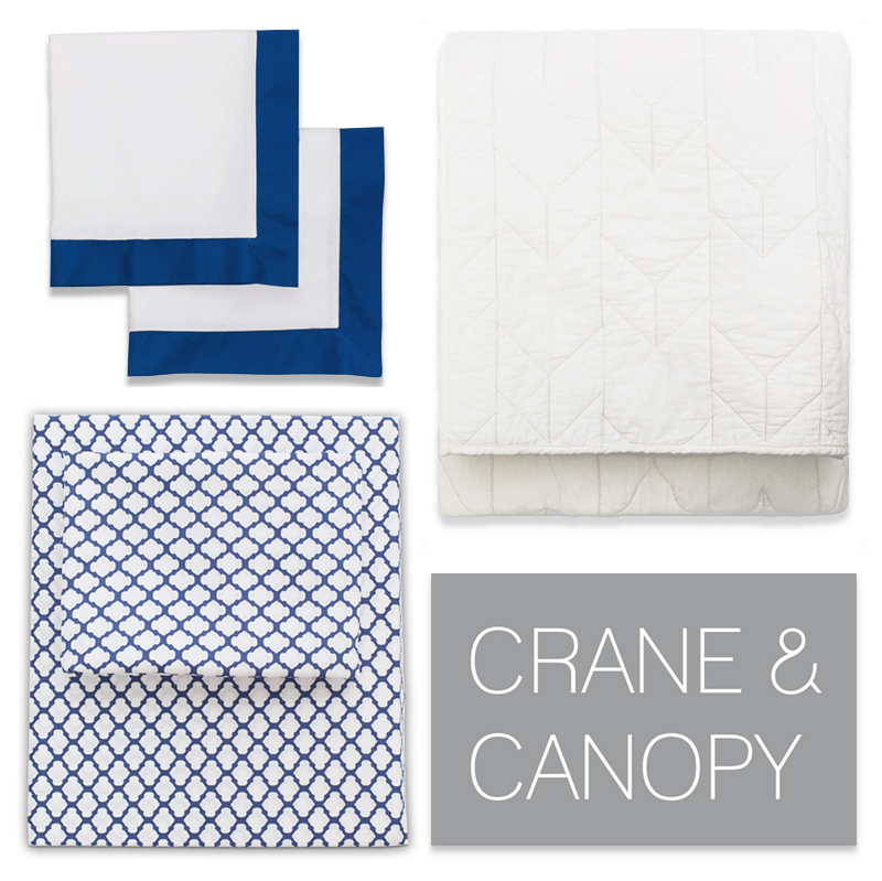 Dorm Room Essentials:  Comfy bedding is a must.  Crane and Canopy's sheets and quilts are super soft and comfortable.  Not to mention gorgeous and blue and white : ).