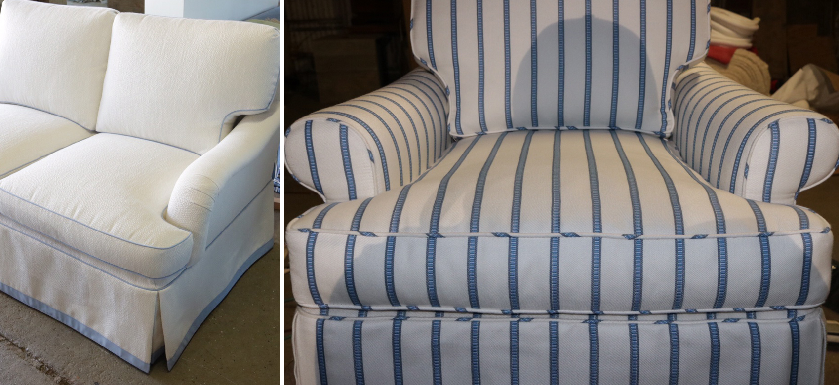 Snapshot from IBM Upholstery sharing newly reupholstered sofa and chairs using Stroheim and Fabricut performance fabrics