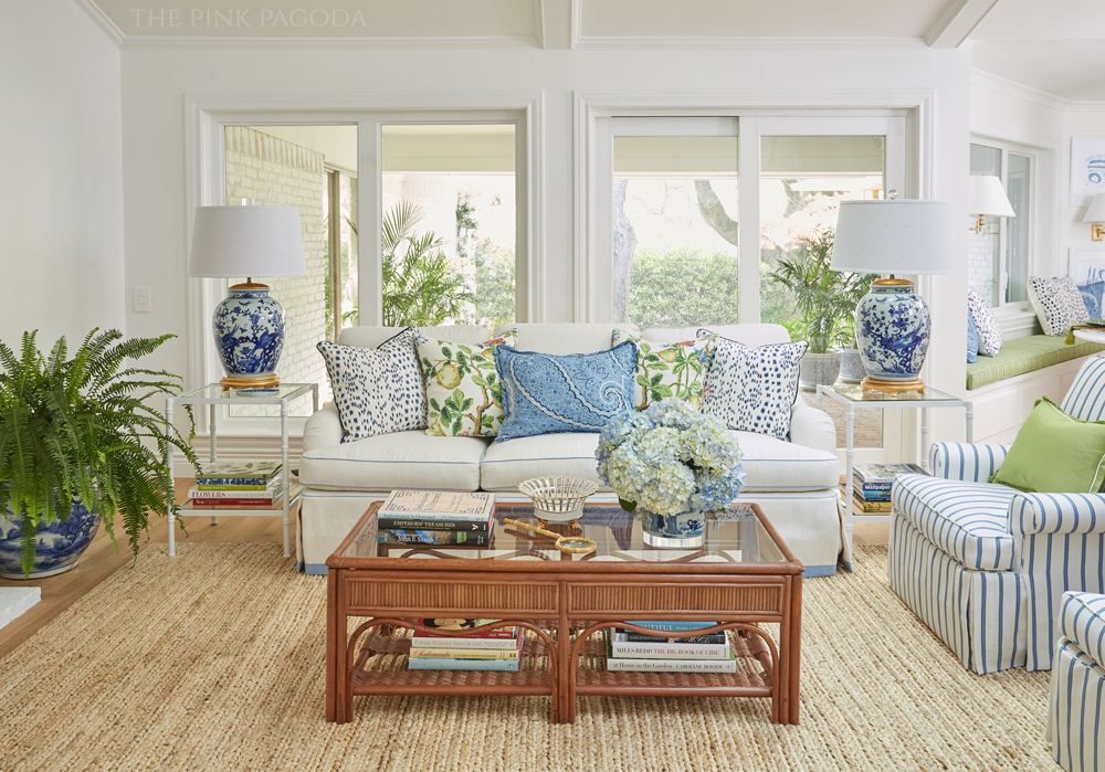 The Pink Pagoda's family room for the fall 2017 One Room Challenge™ with Stroheim performance fabric, Milgard windows and door, Annie Selke rug, and lots of blue and white.