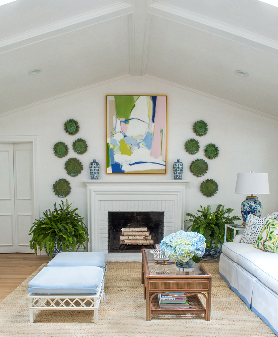 Large scale painting by Christina Baker hung over the mantel for The Pink Pagoda's fall 2017 One Room Challenge™.