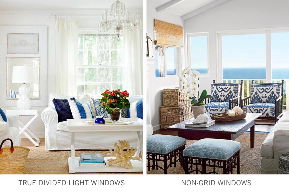 Window styles:  true divided light windows and non grid windows