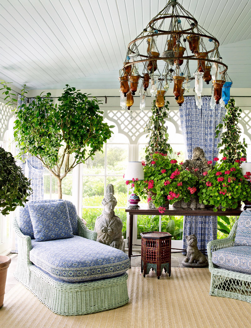 From Architectural Digest, this spectacular sunroom with an amazing chaise couldn't get any better.