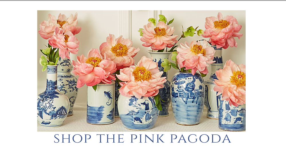 pink peonies in a variety of blue and white vases from The Pink Pagoda
