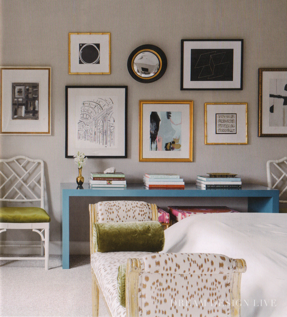 Bedroom and gallery wall from Dream Design Live, Paloma Contreras' fantastic new interior design book.