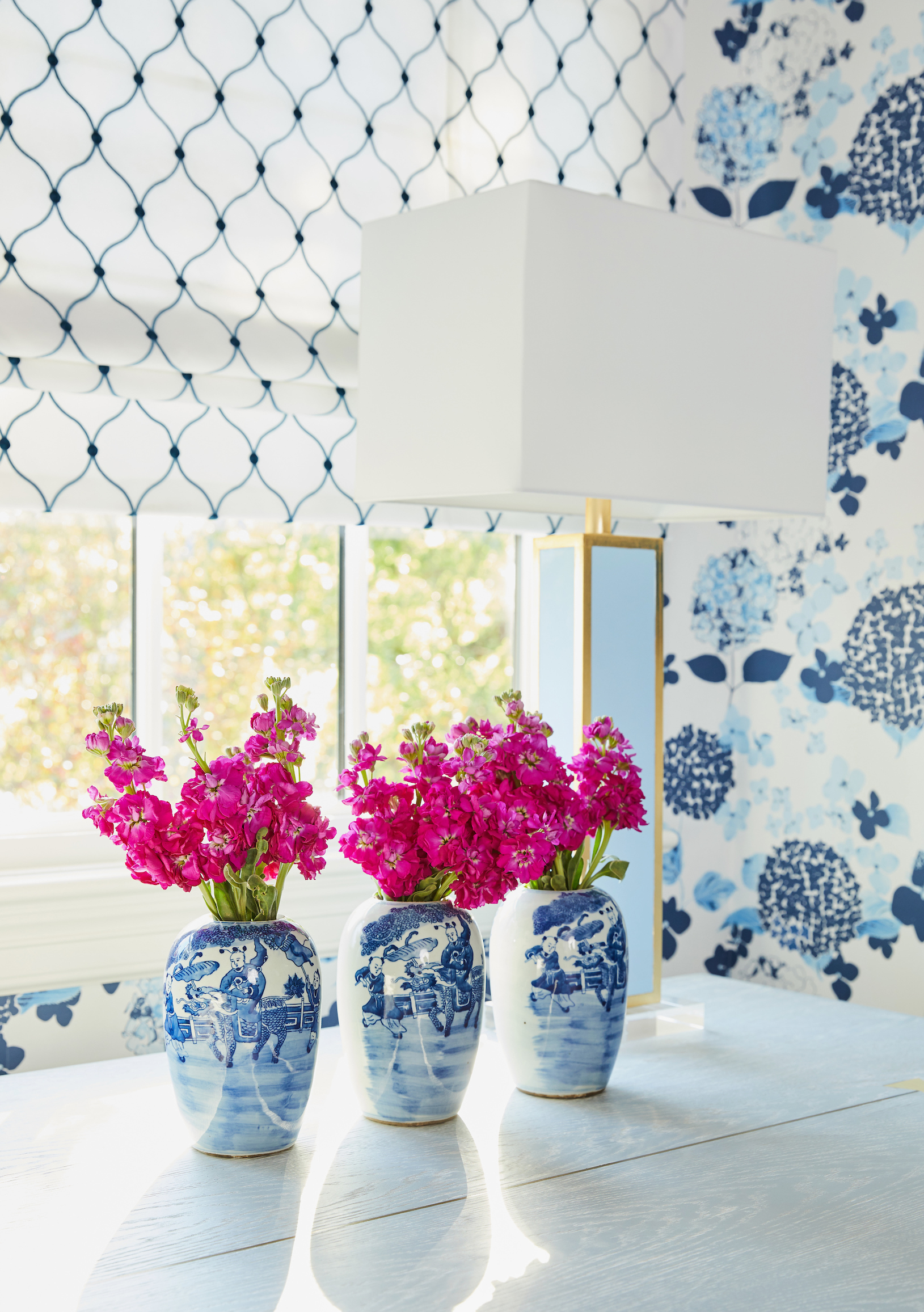 Blue Hydrangea wallpaper by The Pink Pagoda in Mimosa Lane Blog's One Room Challenge project.
