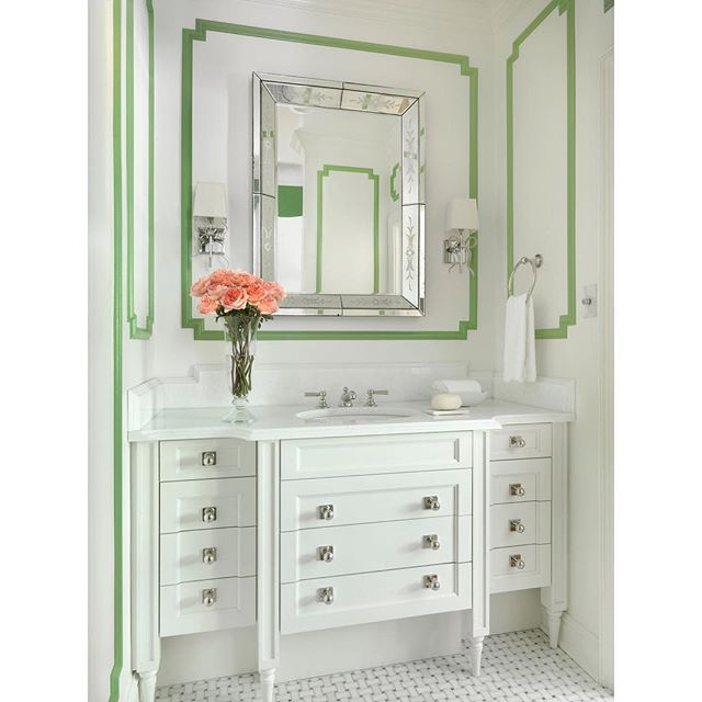Couldn't believe when I ran across this adorable, cheery powder room by @amystudebakerdesign that looks like it belongs in my house.  The second image is my sitting room, and you can't help but see why I'm dying over Amy Studebaker's design.  I haven't remodeled the powder room in my house yet, and this is such perfect inspiration. . . . . . #classicdesign #bath #bathroom #bathroomdesign #powderroom #greenandwhite #interiors #thepinkpagoda