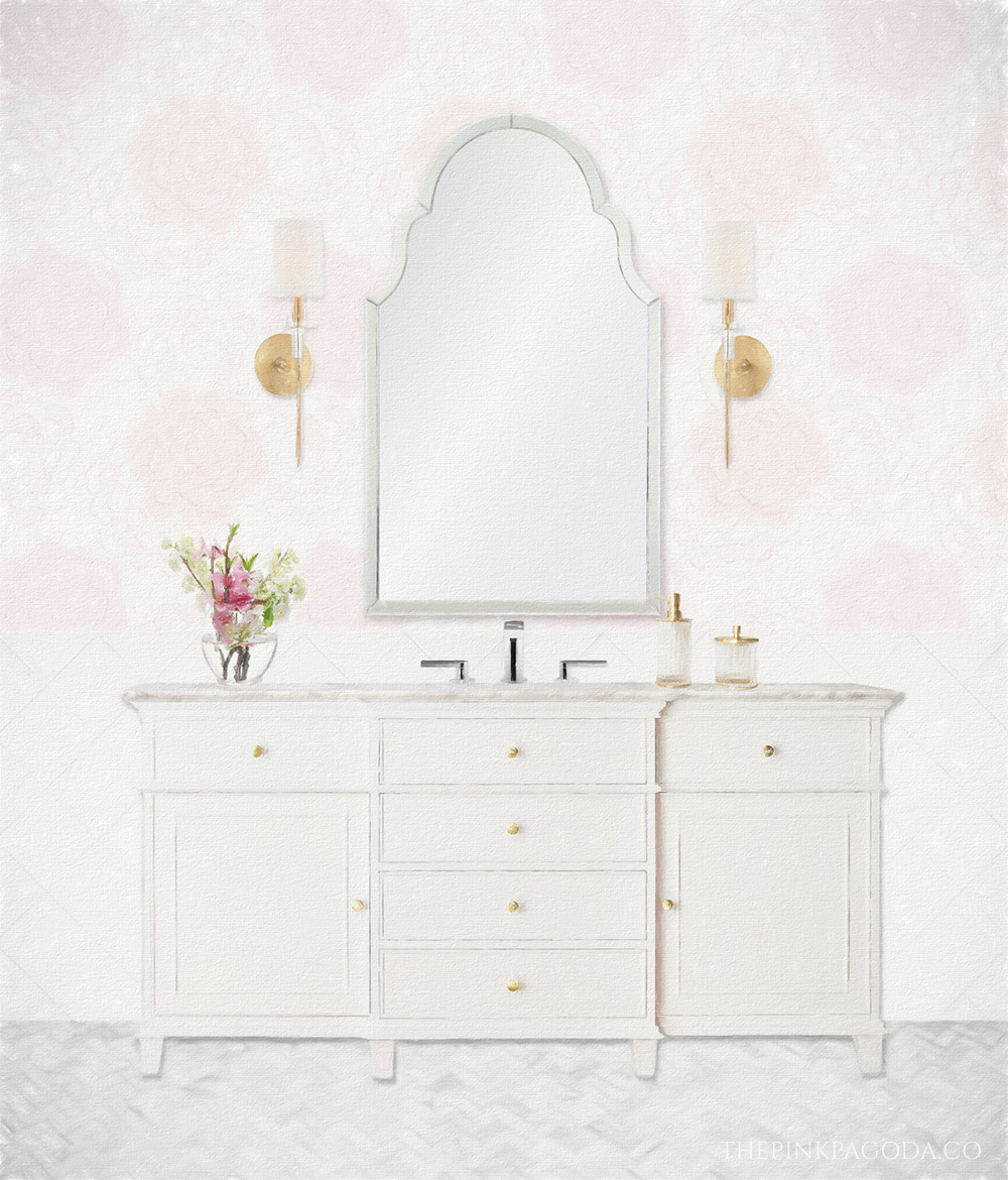 Guest bath design board for The Pink Pagoda's Spring 2019 One Room Challenge™