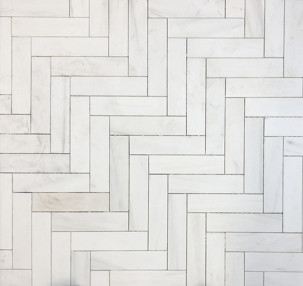 Straight herringbone pattern in the Bianco Puro Marble Collection from The Tile Shop