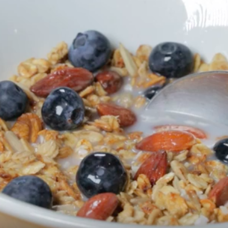 homemade Glorious Granola and blueberries