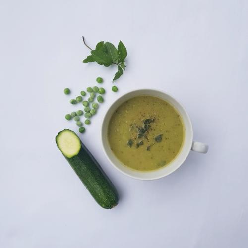 courgette, pea + mint soup