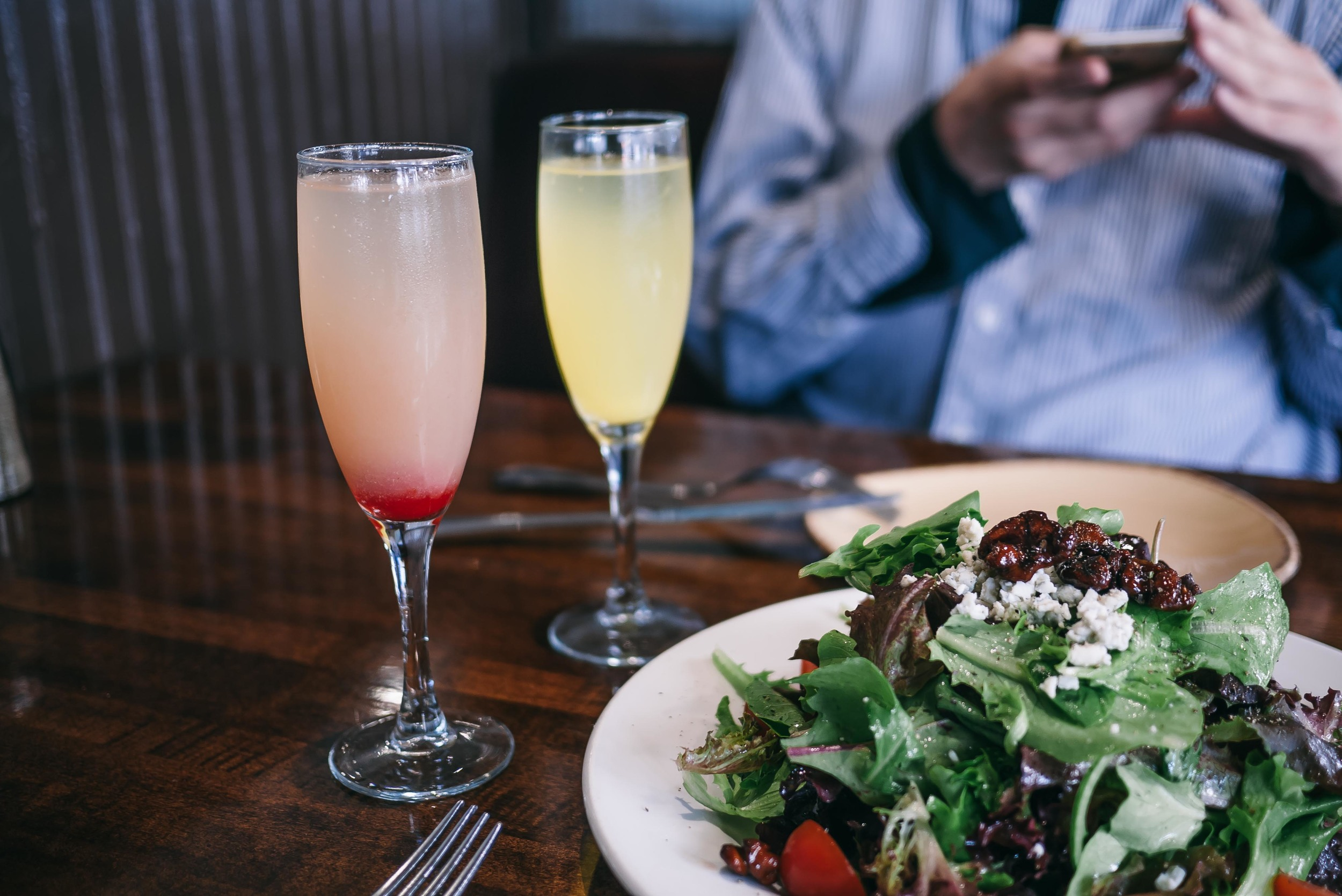 Refreshing brunch cocktails: Classic mimosa + bellinis. Fruity, effervescent and a balanced ratio of champagne and juice. Never a bad idea.