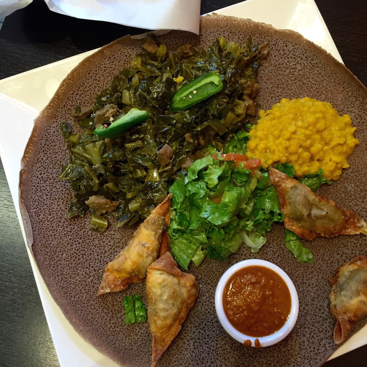 Lunch:  We accidentally happened upon   Tadu Ethiopian Cafe   in the SoMa district and were so happy that we did. Any of their lunch special platters will be enough to fill two tummies and more. Side note: You will have to eat with your hands, so please wash them!