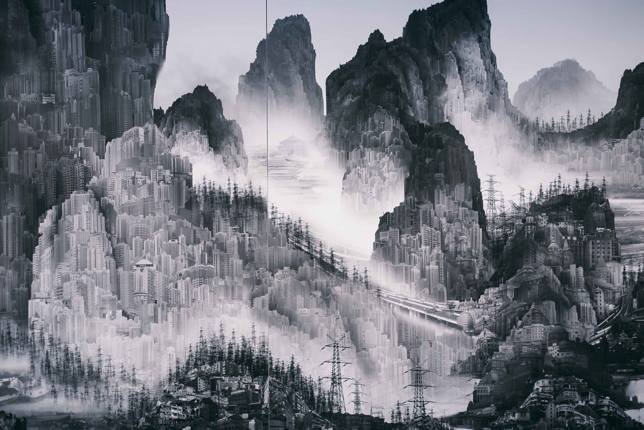 Yang Yongliang's exhibition   is a must-see at the museum. It elevates traditional, Chinese ink paintings onto the digital landscape, where the old techniques meet a new medium. What an impactful way to showcase the increasingly dystopian progress of society.