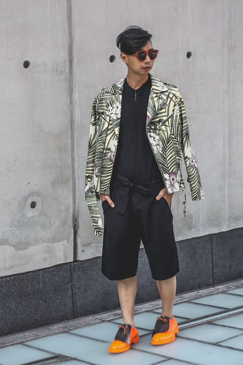 James Payne vegan leather print jacket / Zara jumpsuit / Grey Ant sunglasses /   Vivienne Westwood PVC lace-ups