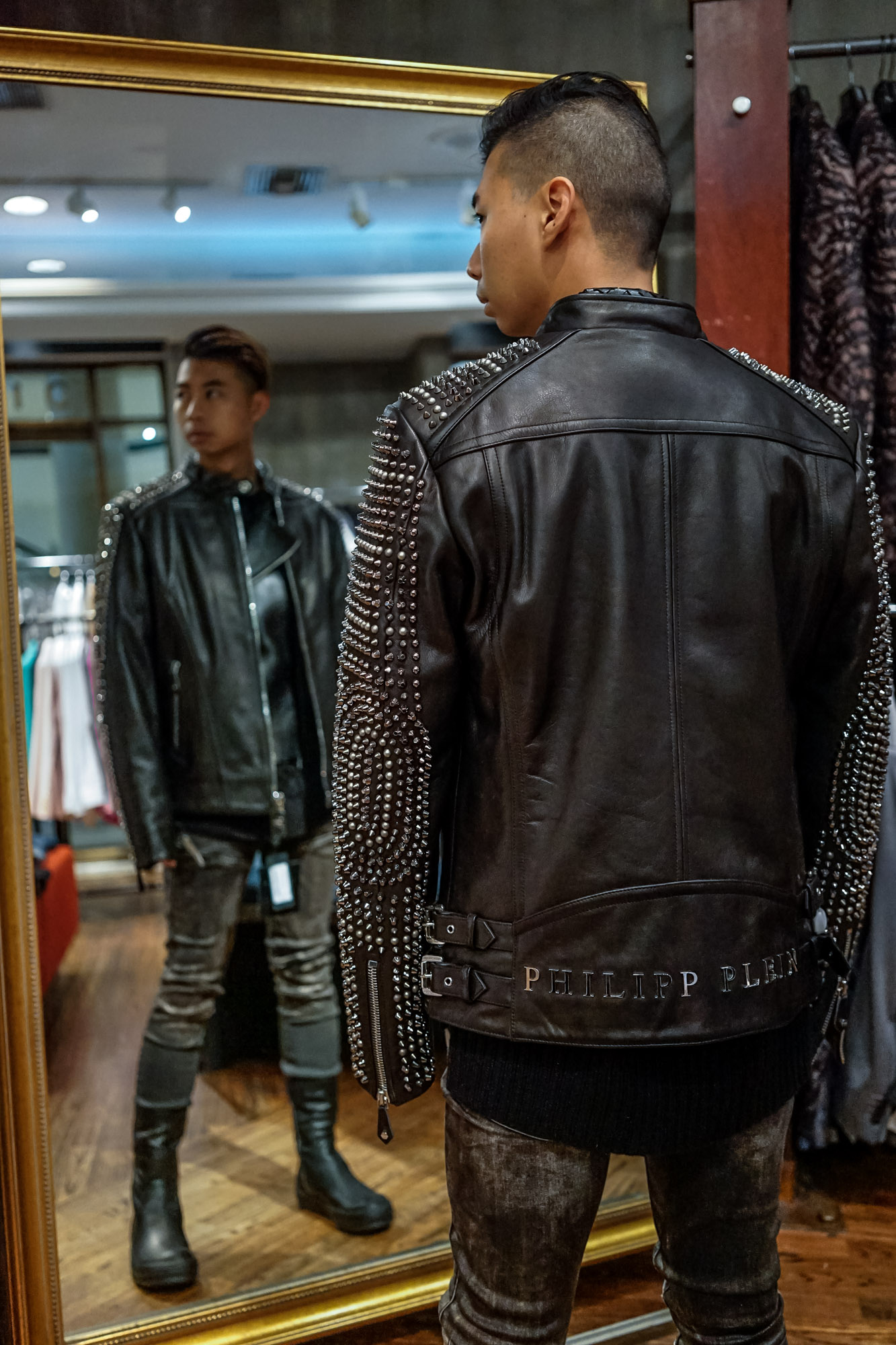 Studded Sleeves:   Philipp Plein Leather Jacket