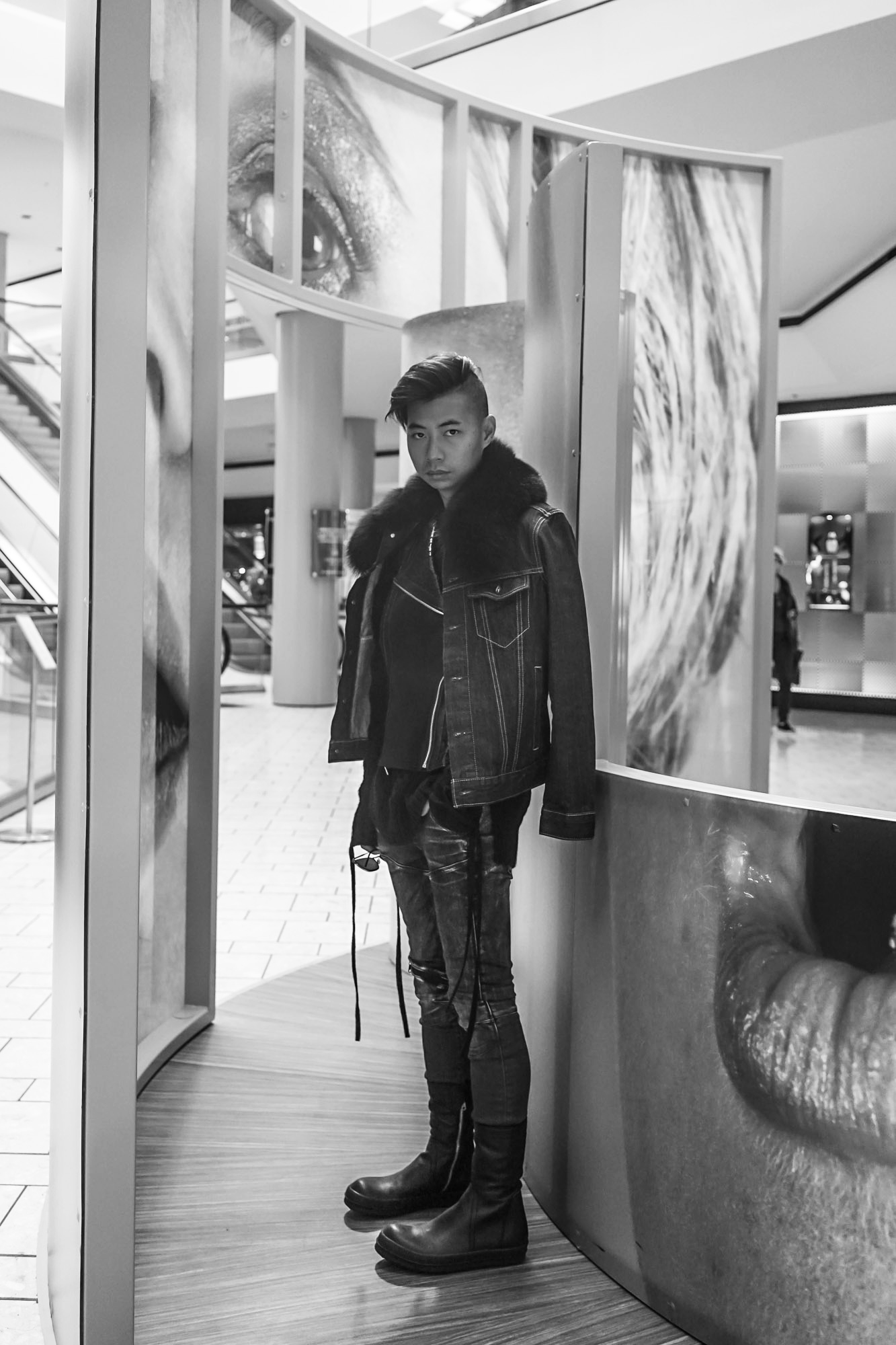OOTD:   Saint Vivian Worth fur denim jacket  , Tadashi Shoji laser-cut leather vest,   G-Star RAW faded denim  ,   Rick Owens zip-up boots