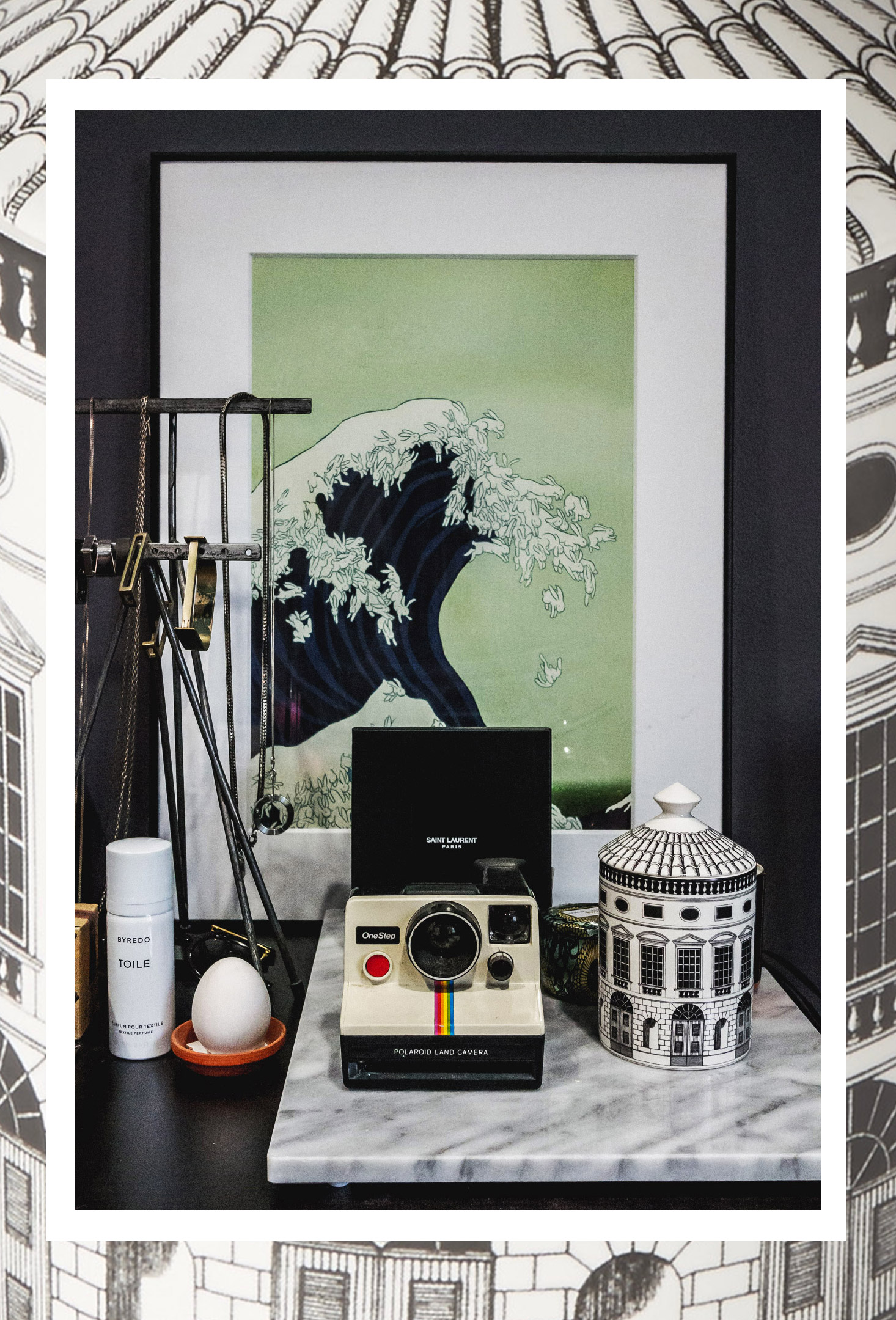 Decorative yet functional:   Byredo Toile Textile Perfume  ,   Fornasetti Architettura Scented Candle
