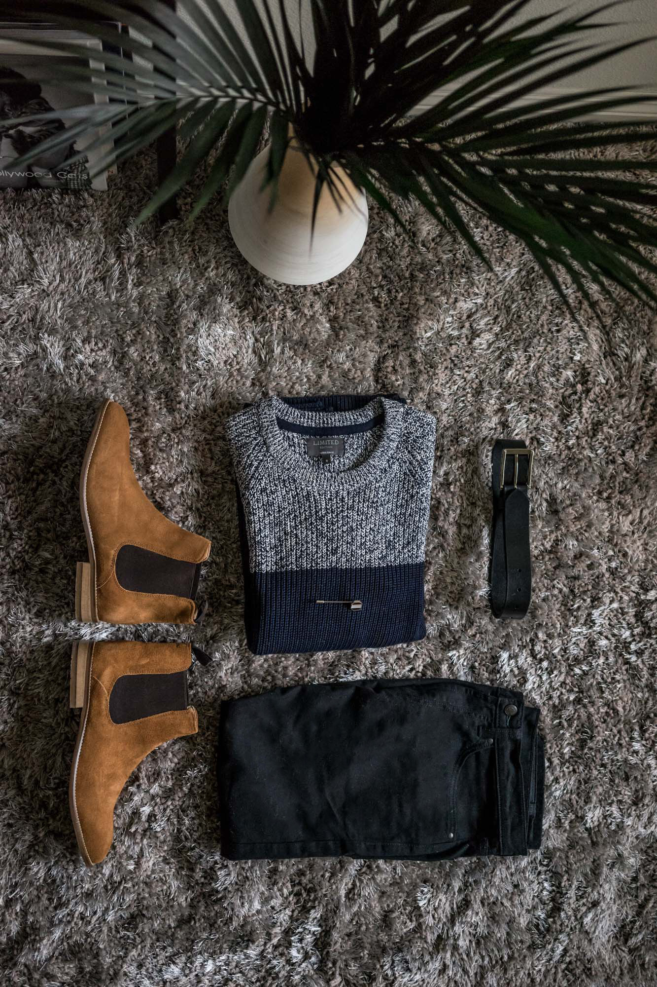 On the Mark:  Limited Edition Suede Baseball Bomber Jacket ,  Luxury Suede Chelsea Boots , Slim Fit StayNew™ Jeans, Octagon Lapel Pin ,  Limited Edition Cotton Blend Textured Slim Fit Jumper
