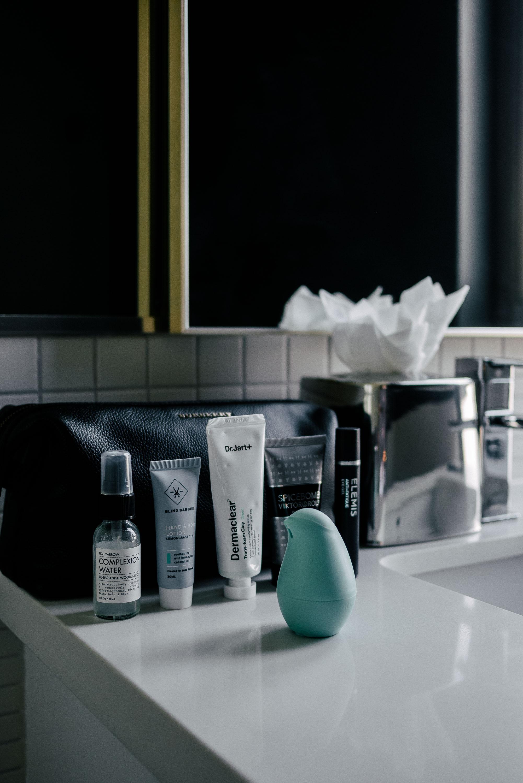 Fig + Yarrow complexion water. Dr Jart green tea mask. Viktor & Rolf aftershave. Elemis eye gel. Olika hand sanitizer.