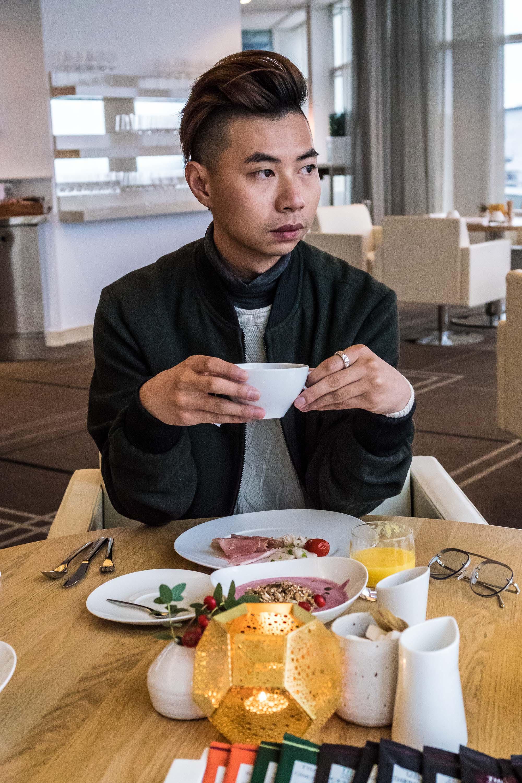 Enjoying a nice, Swedish breakfast at the Upper House hotel wearing my   7Diamonds jacket  .