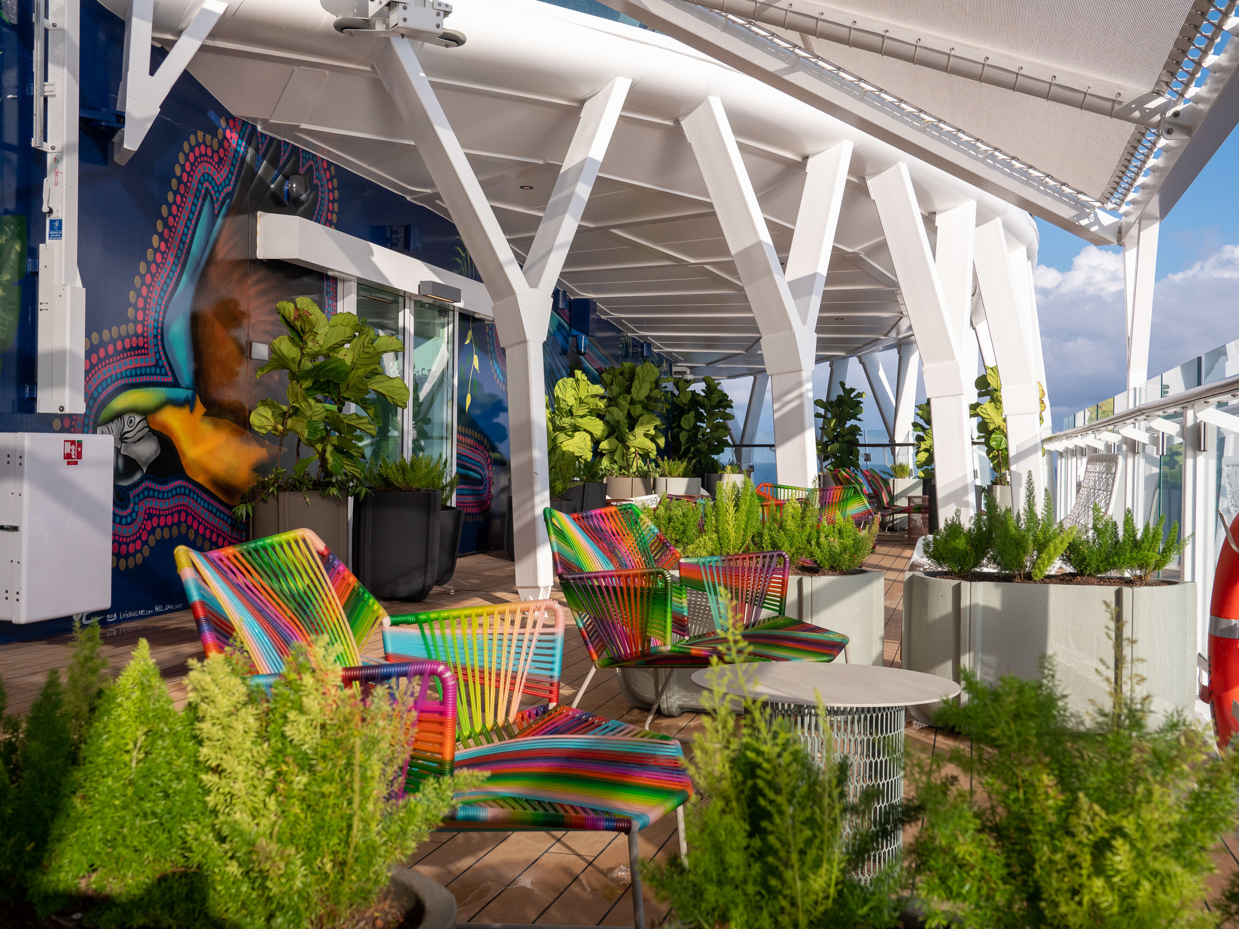 Each level of the Celebrity Edge cruise ship houses a distinctly-designed lookouts and balconies.