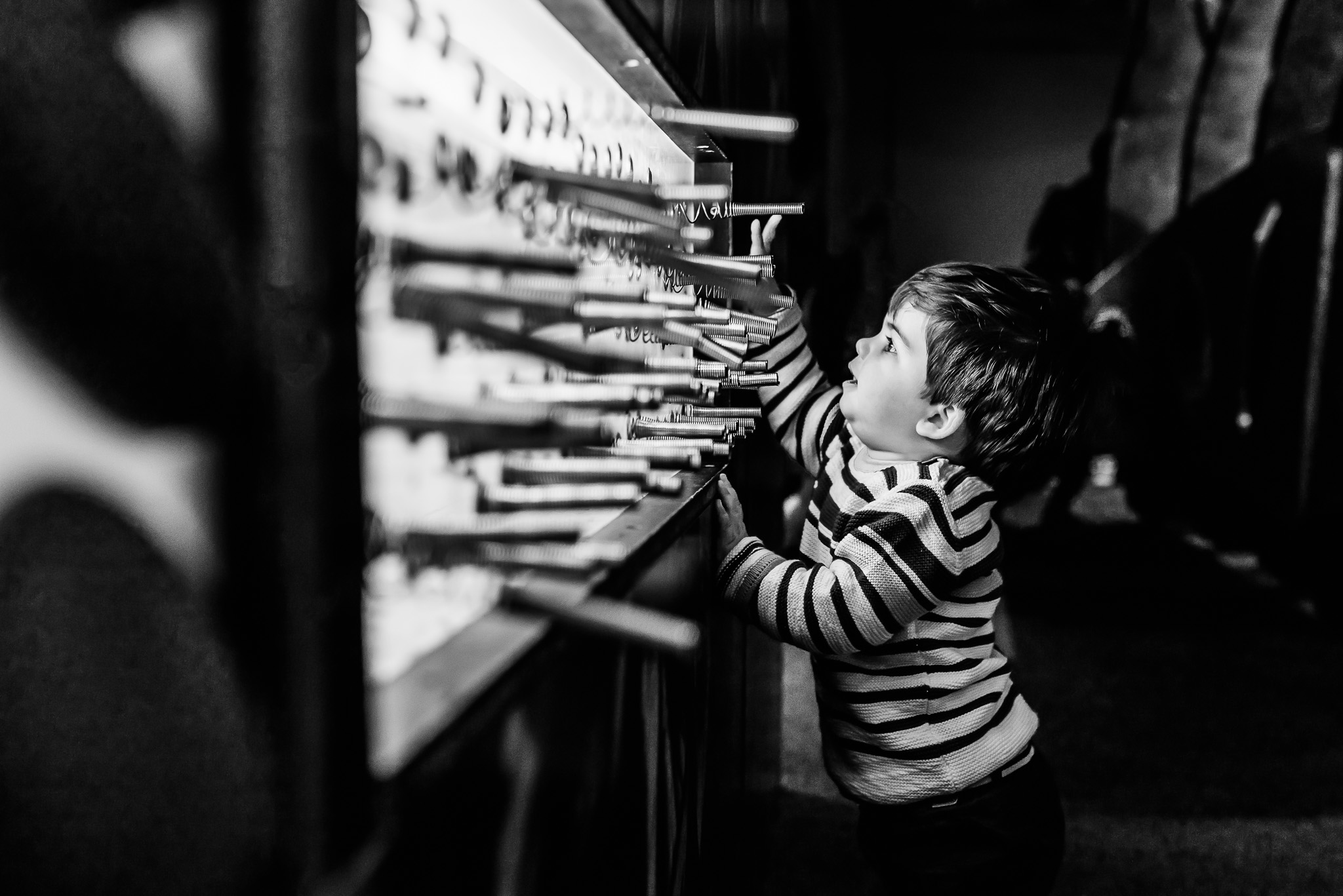 Copy of baby exploring - black and white conversion.