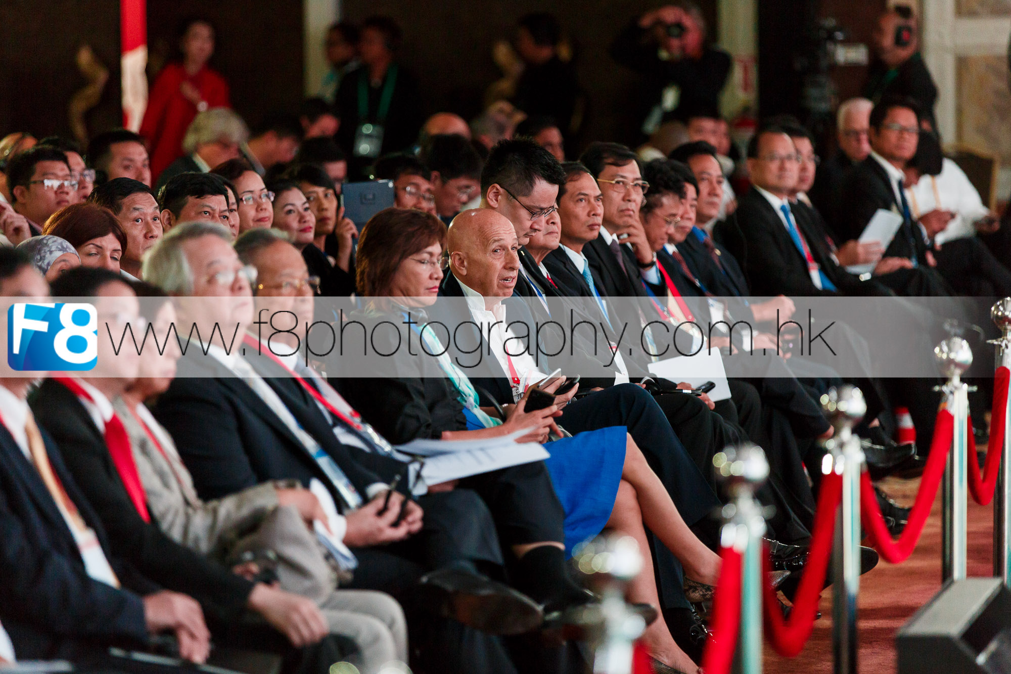 Allan Zeman, Hong Kong business magnate seated in the centre, also known as the Father of Lan Kwai Fong, a famous bar a restaurant district located in Central Hong Kong.