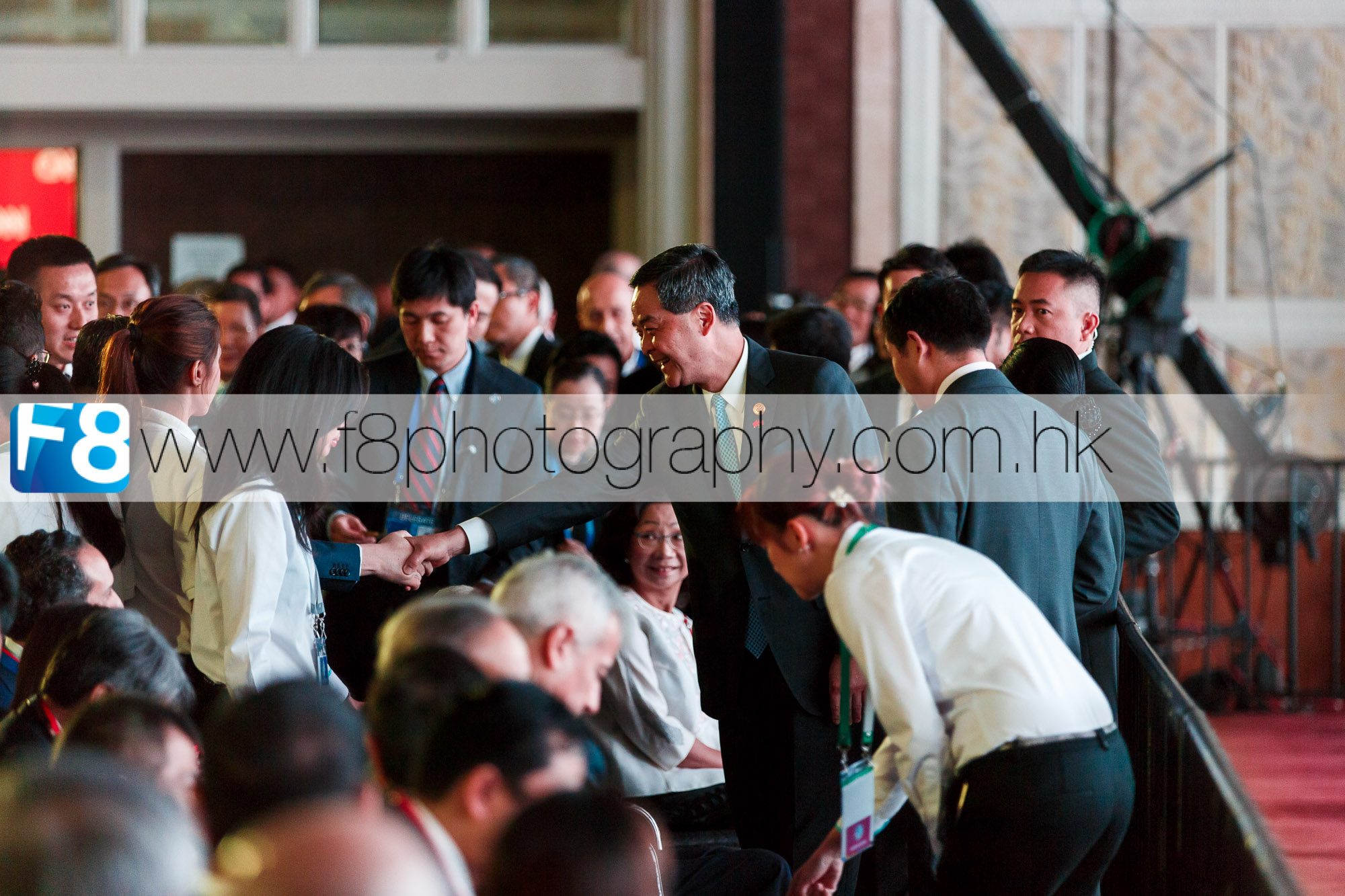 Hong Kong's C Y Leung greeting guests.