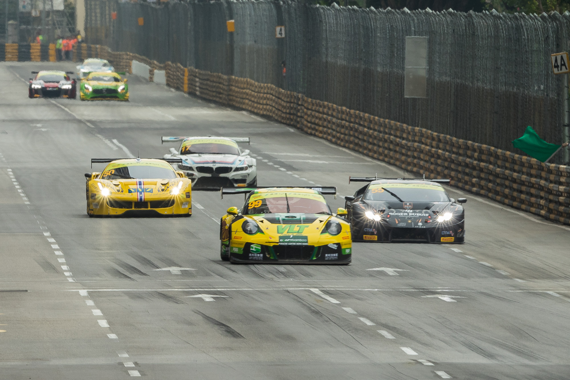 Team Craft Bamboo leading the way after a restart. This is one of fastest parts of the Macau circuit coming out of Fishermans bend heading towards the famous Lisboa corner.
