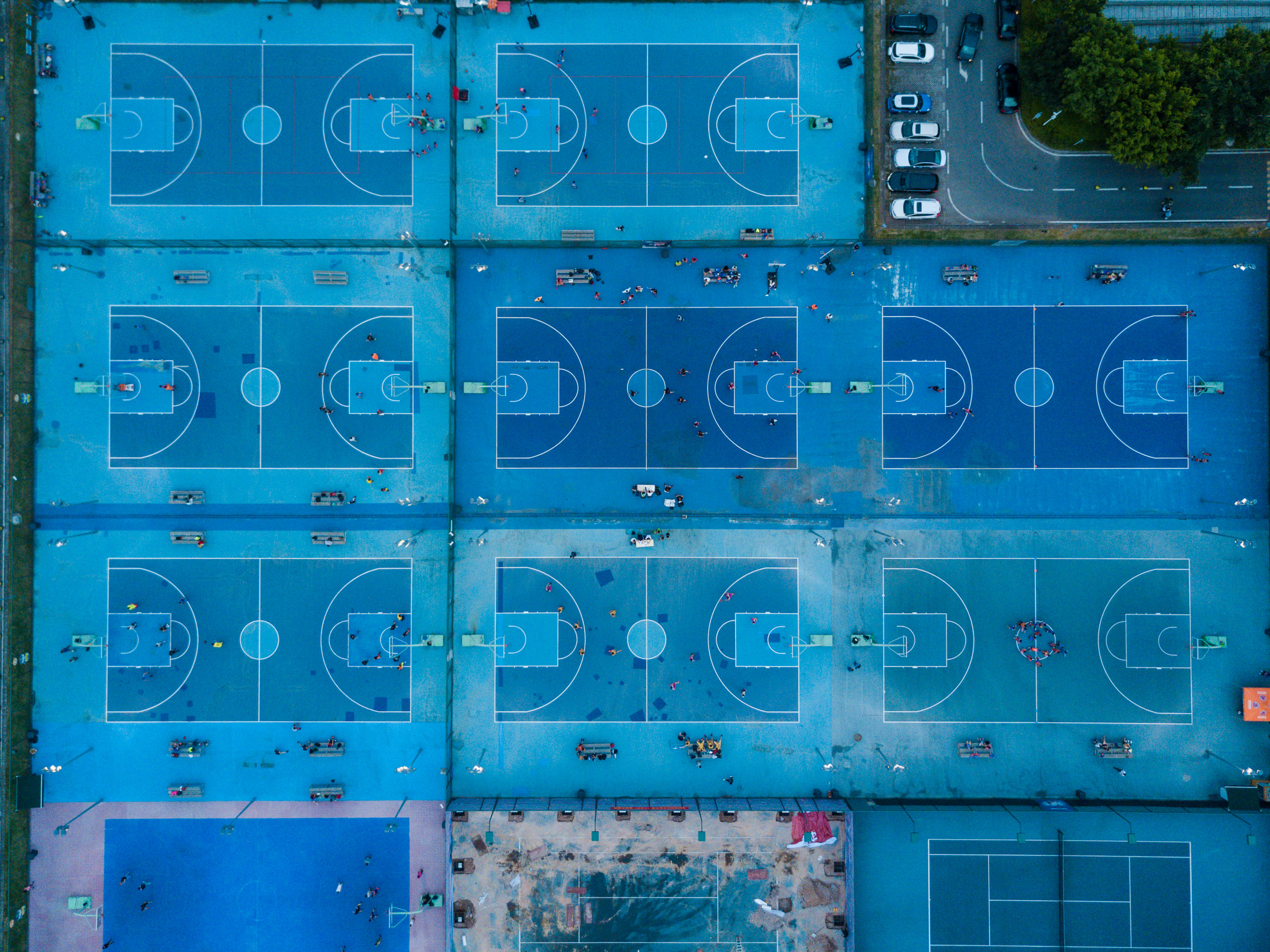 New Basketball courts next to the Shenzhen Bay Sports Centre.