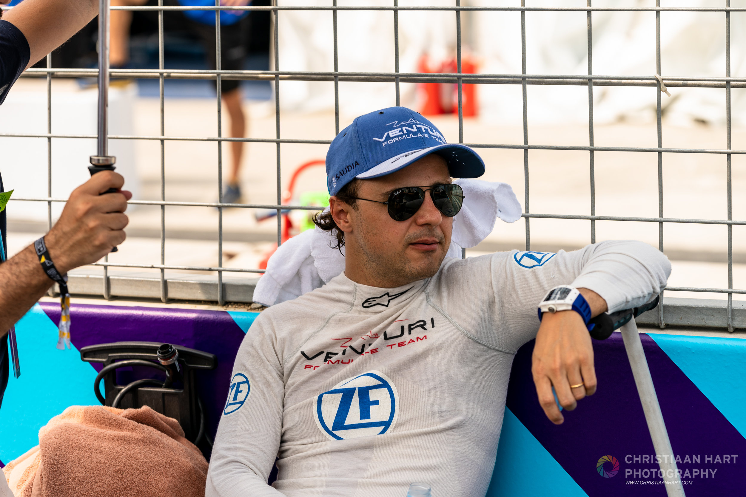 Felipe Masa  trying to stay cool on the grid