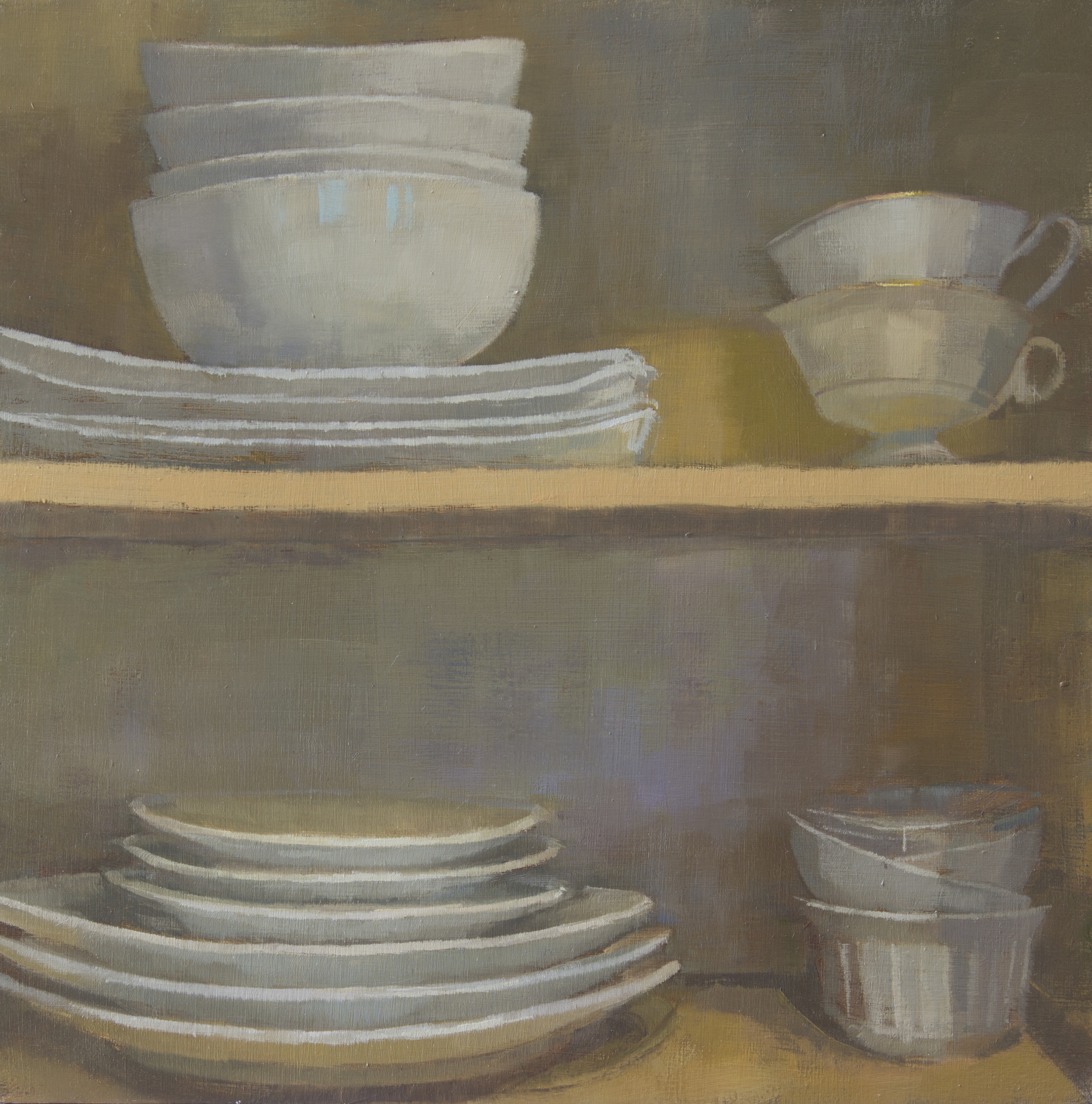 "Pyramids of Teacups, oil on wood panel, 10"" x 10"", 2015, Private Collection"