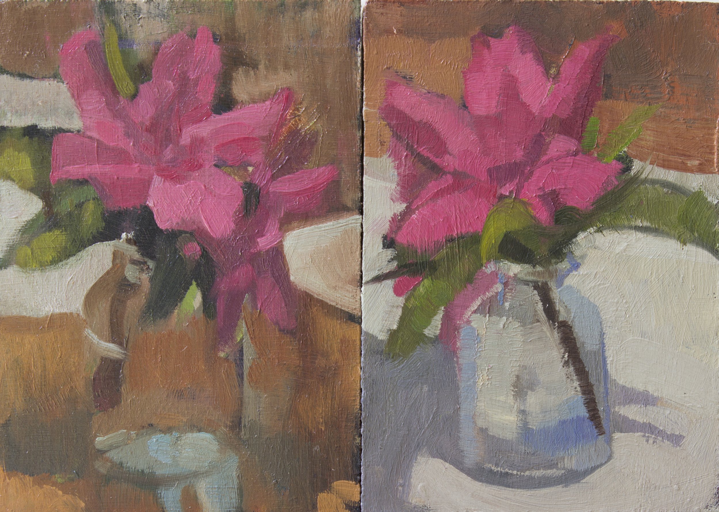 "Azalea Studies no.1 and 2, diptych, oil on panel, 4.75"" x 3.25"" 2015, Private Collection"