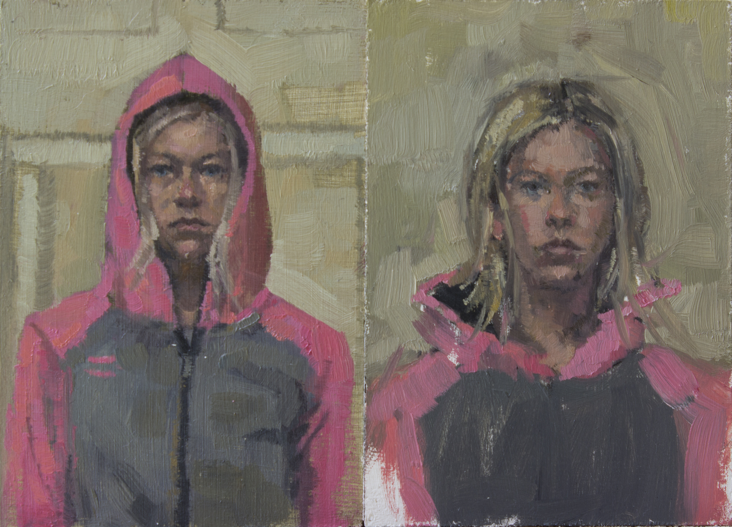 "Pink Hoodie Up and Down, diptych, oil on panel, 4.75"" x 3.25"" 2015, Sold(up)"