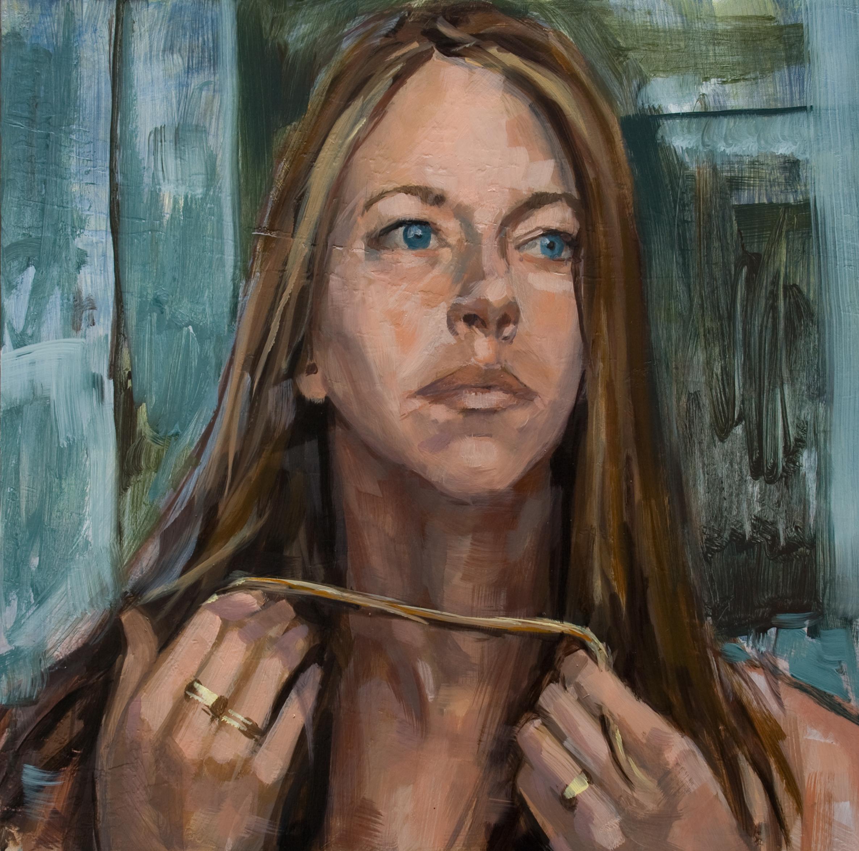 "Blue Eyes When, oil on panel, 12"" x 12"", 2013"