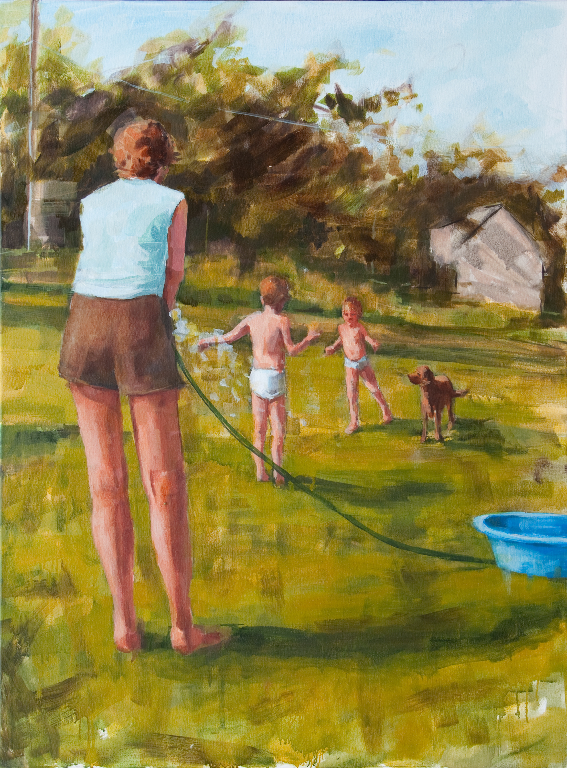 """Blue Kidde Pool, oil on canvas, 40"""" x 30"""", 2012, Private Collection"""