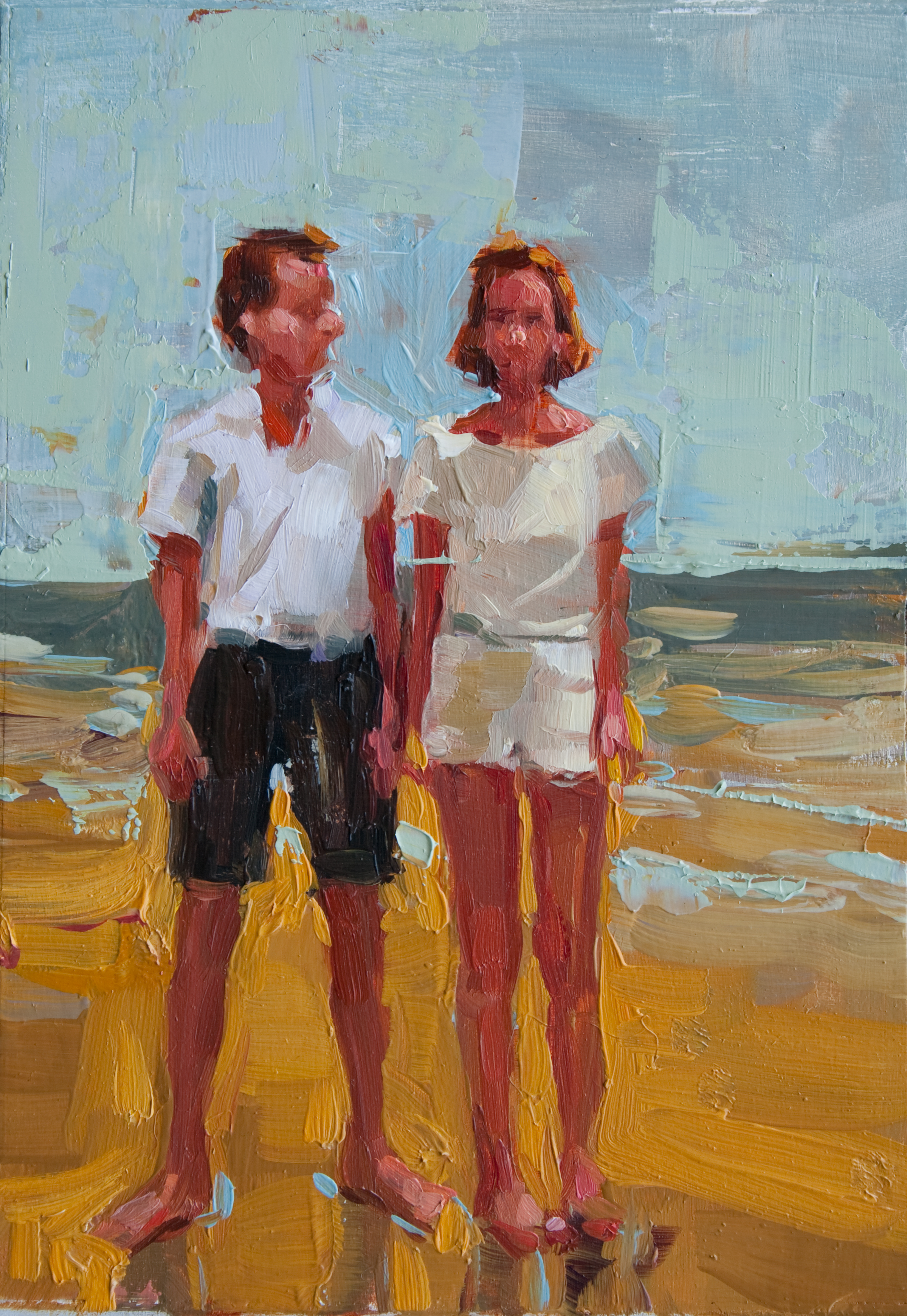 """Beach Standoff, oil on panel, 7"""" x 5"""", 2011, Private Collection"""