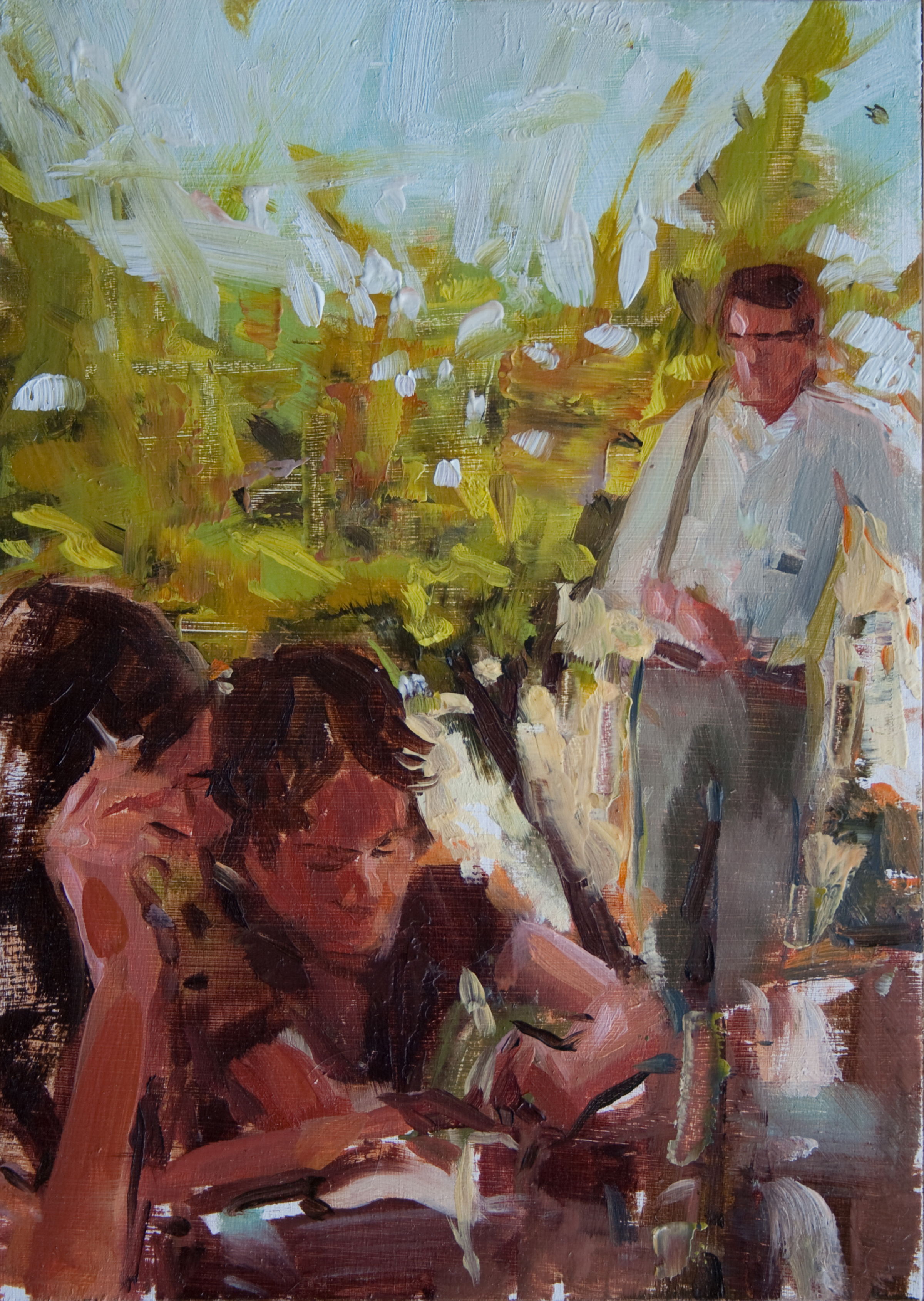 """Afternoon Dad, oil on panel, 7"""" x 5"""", 2011"""