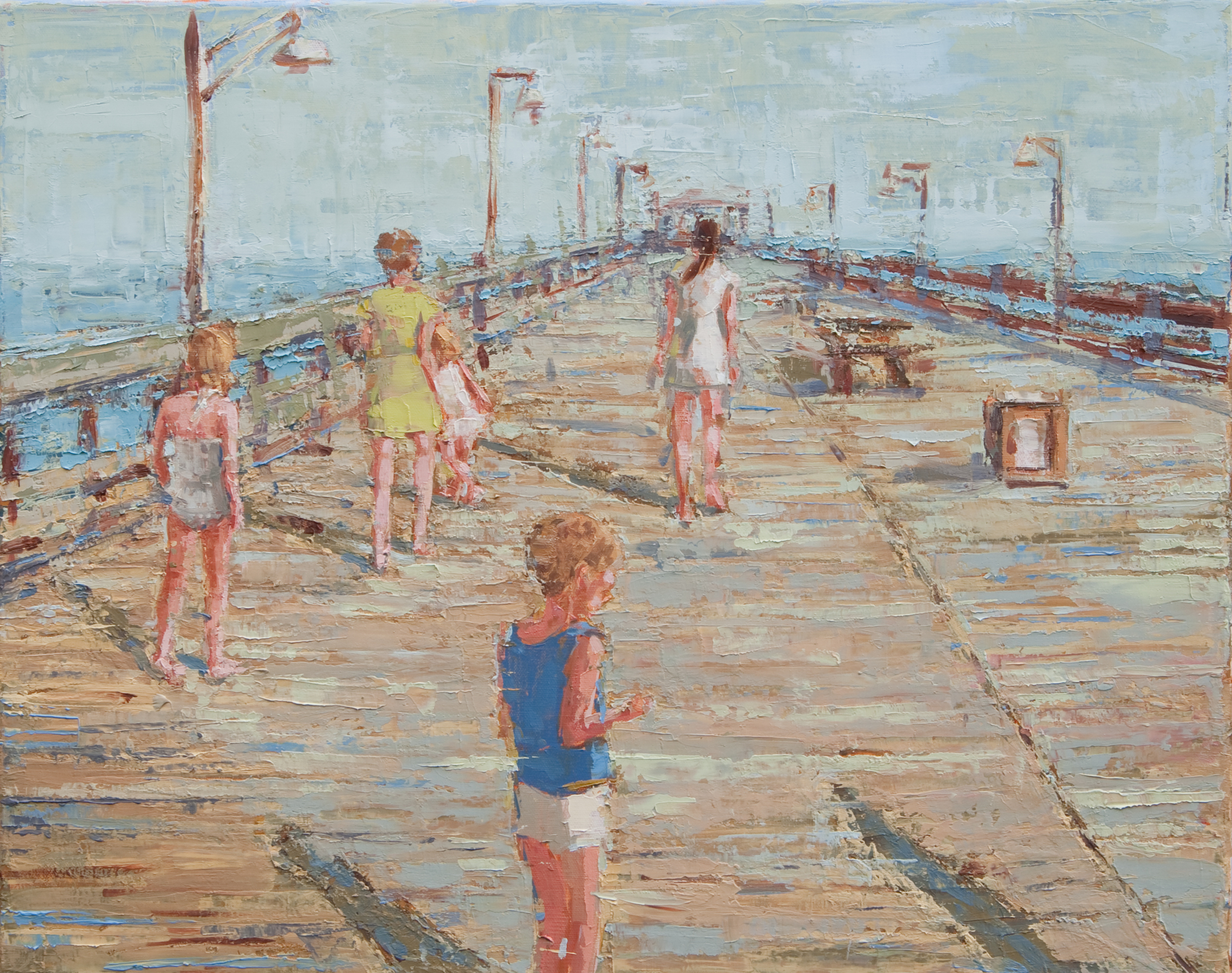 """Afternoon Pier Walk, oil on linen, 16"""" x 20"""", 2011, Private Collection"""