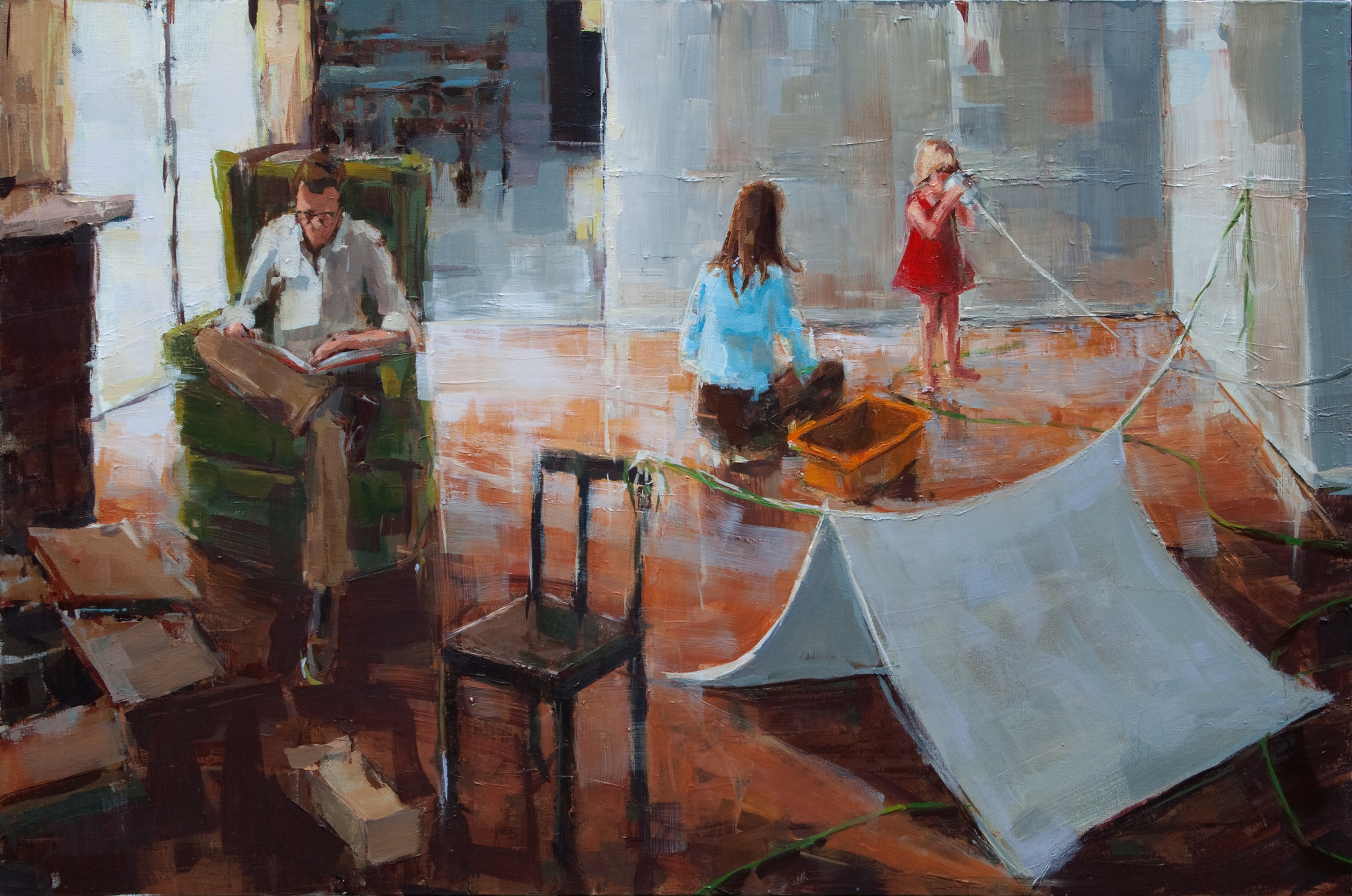 """Living Room with Tent, oil on canvas, 24"""" x 36"""", 2011"""