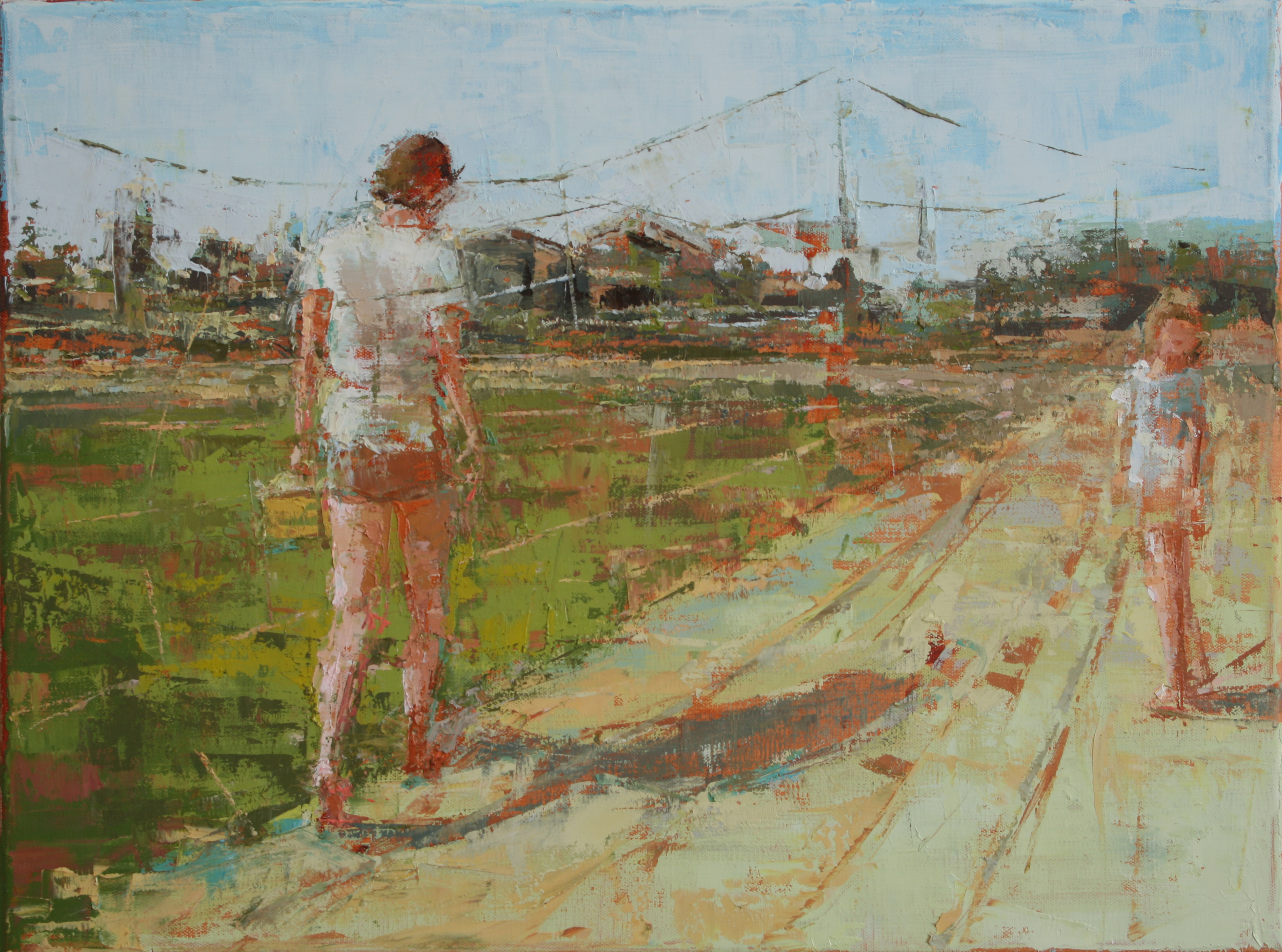"""Walking on a Dirt Road, oil on linen, 12"""" x 16"""", 2010, Private Collection"""