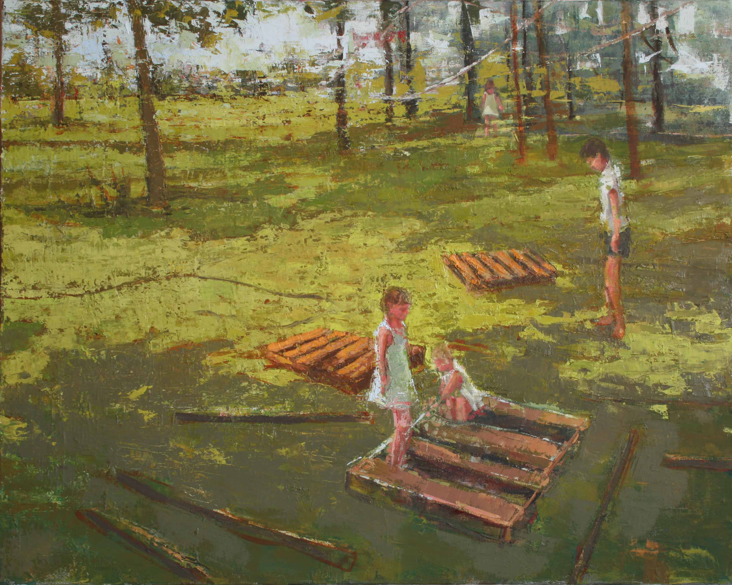 """Backyard with Wooden Palettes, oil on canvas, 24"""" x 30"""", 2010-11, Private Collection"""