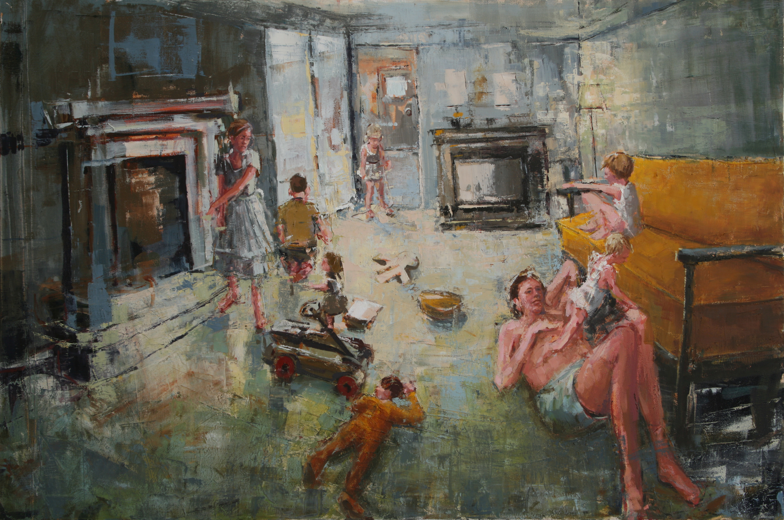 """Crowded Living Room, oil on canvas, 24"""" x 36"""", 2011, Private Collection"""