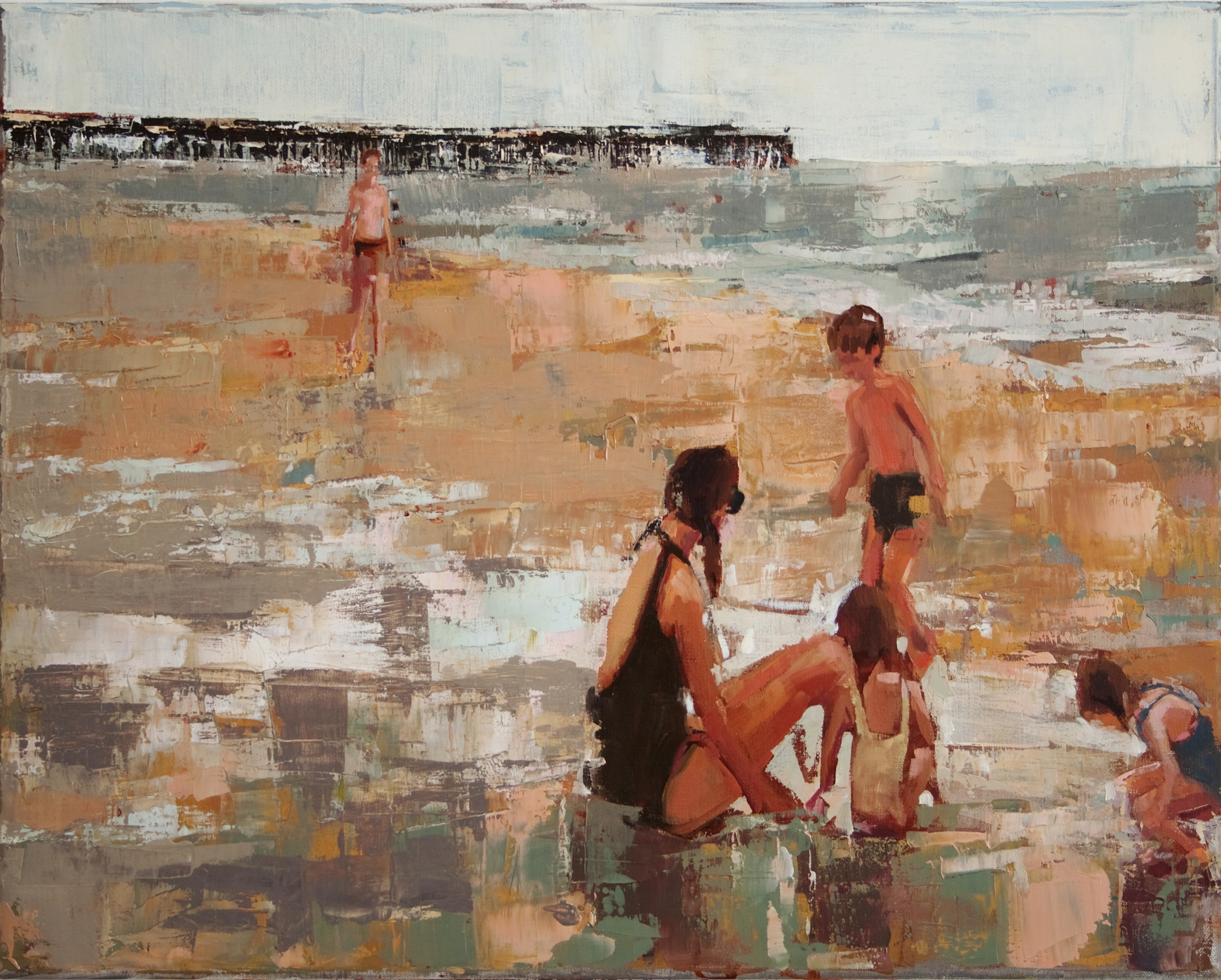 """Cloudy Beach, oil on linen, 16"""" x 20"""", 2010, Private Collection"""