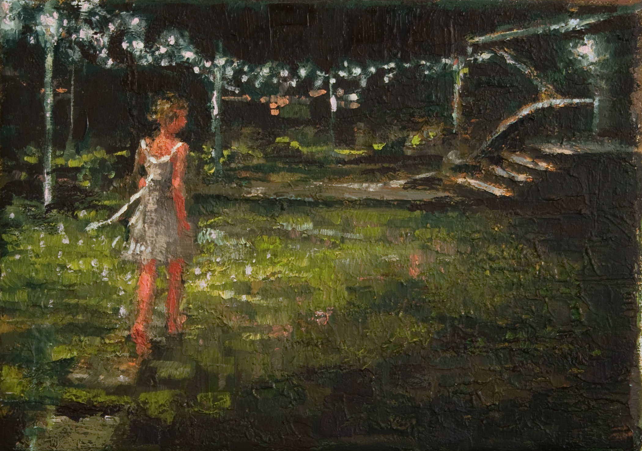 """Night Lights, oil on linen, 5"""" x 7"""", 2010, Private Collection"""