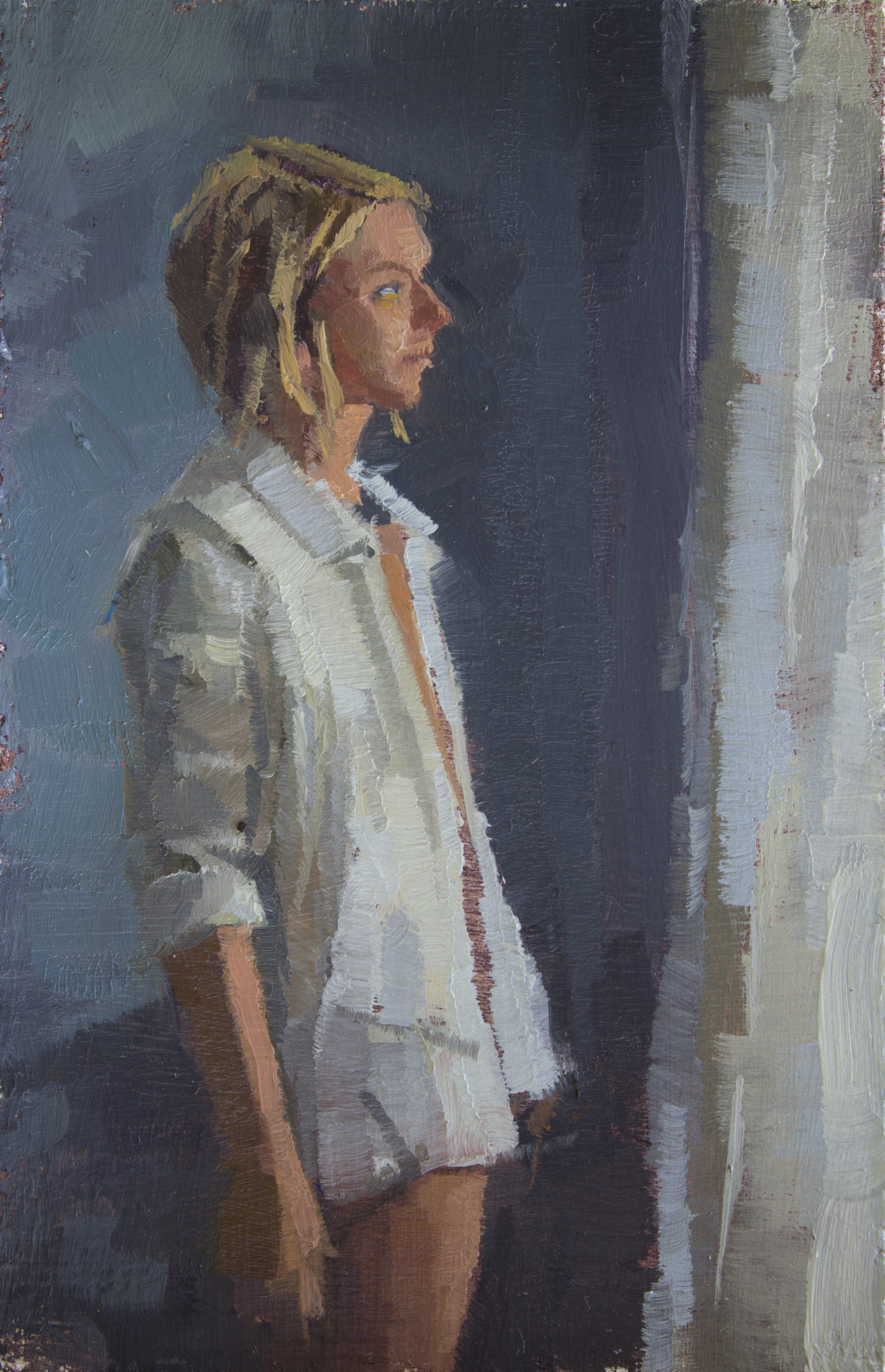"TS 310, oil on panel, 3.25"" x 2"", 2014, Sold"