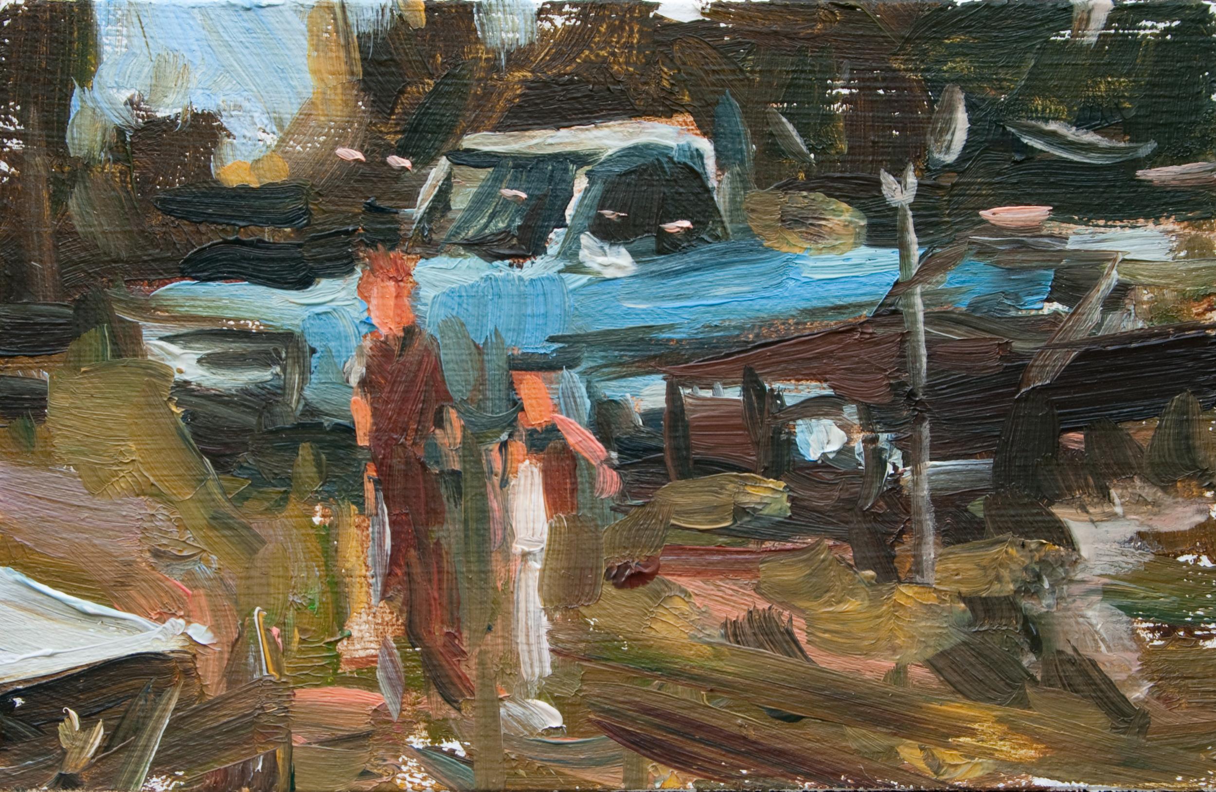 """TS 117, oil on panel, 2"""" x 3.25"""", 2011"""