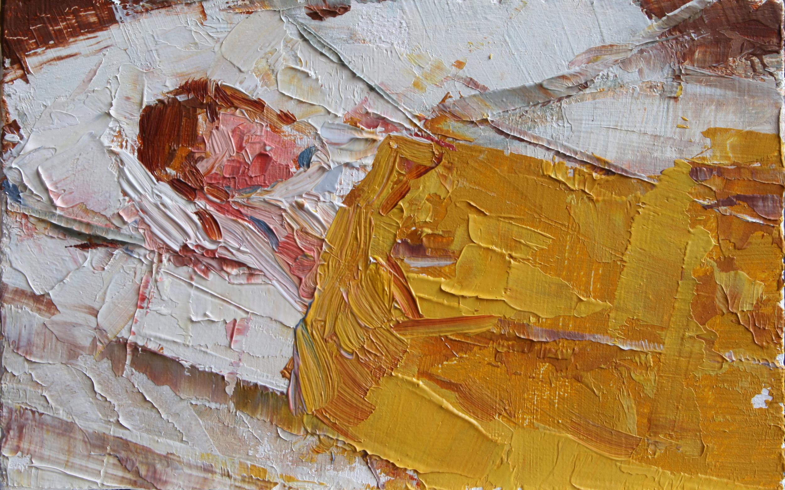"""TS 49, oil on panel, 2"""" x 3.25"""", 2011"""