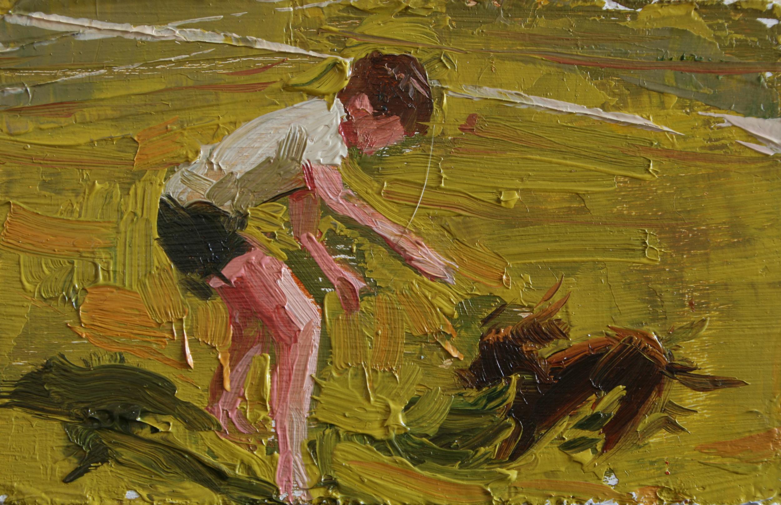 """TS 25, oil on panel, 2"""" x 3.25"""", 2011"""